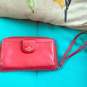 Coach Red leather Wallet ❤️